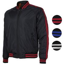 Men's Water Resistant Slim Fit Striped Zip Up Flight Bomber Jacket TONY