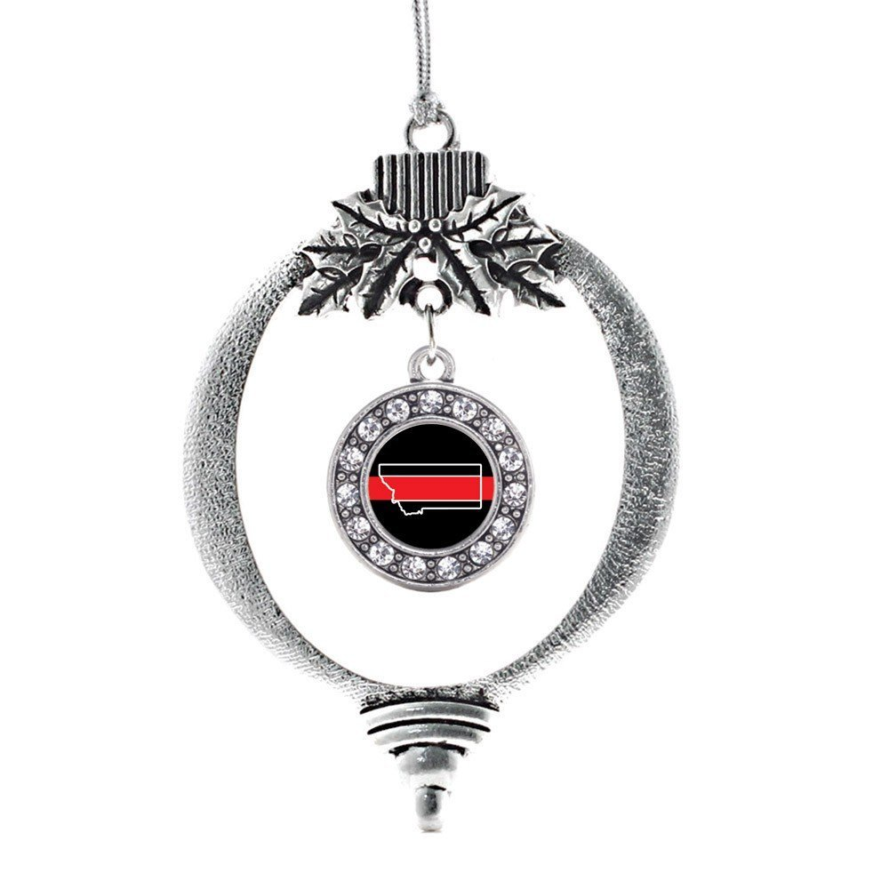 Primary image for Inspired Silver Montana Thin Red Line Circle Holiday Ornament