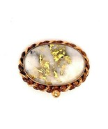 14k Yellow Gold Victorian Genuine Natural Gold Vein Quartz Pin Brooch (#... - $985.05