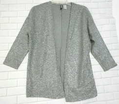 Divided Silver Boucle Knit XS Open Front Sweater 3/4 Sleeve Jacket - $12.53
