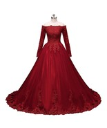 Women Long Sleeves Lace Ball Gown Prom Dress Long Tulle Evening Party Go... - $188.99
