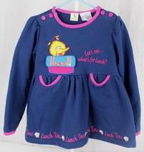 Vintage Sesame street girl's big bird long sleeve blue dress size 5T - $17.54