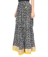Yellow Border Leaves Jaipuri Skirt - $25.75