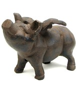 Huge Reproduction Heavy Cast Iron Flying Pig Statue - $64.34