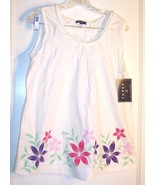 Sz L - NWT Thre3 White 100% Cotton Top w/Red & Purple Flower Accents - $21.37