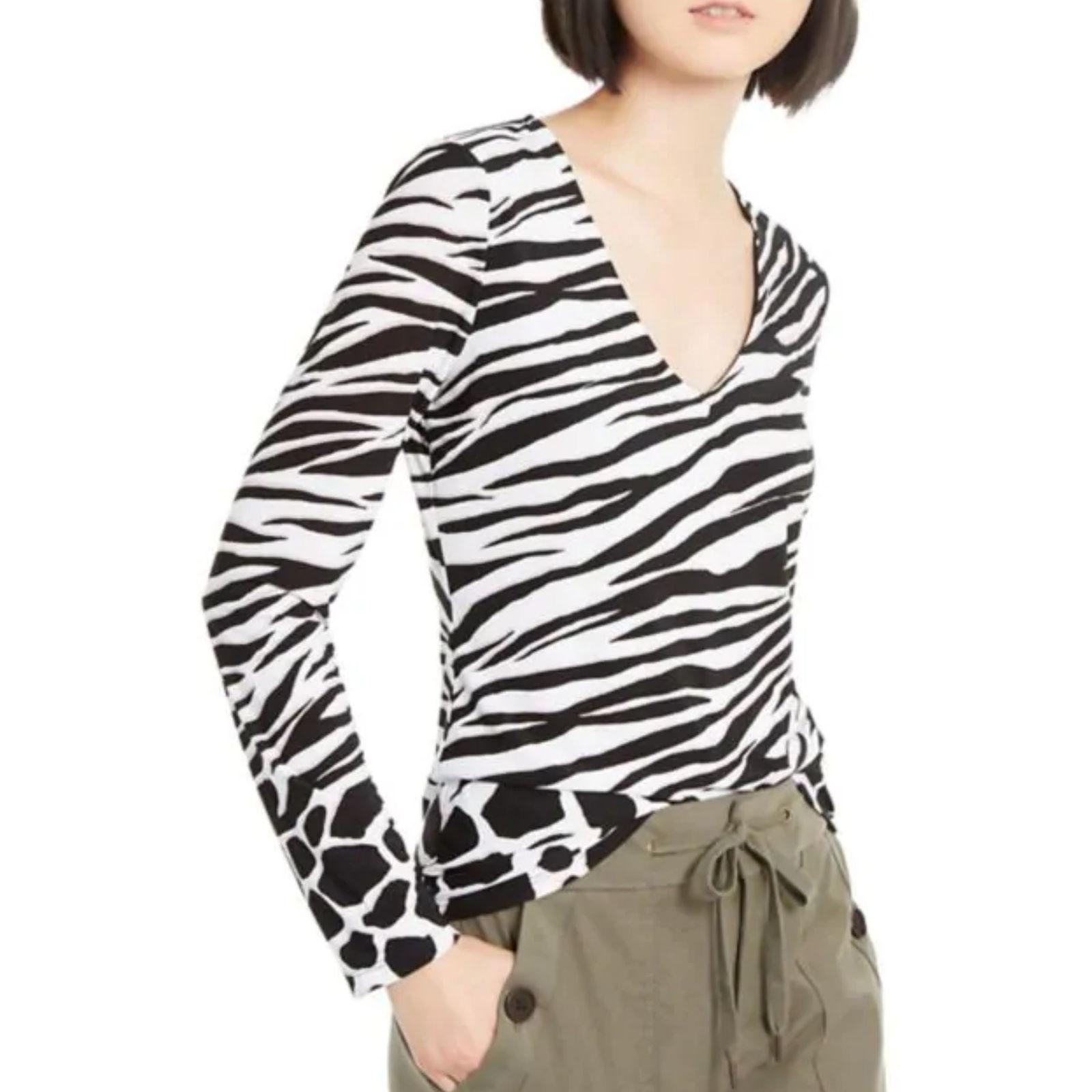 nwt Zebra Print Top Petite white/black L
