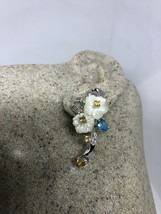Vintage Genuine Mother Of Pearl Flower 925 Sterling Silver Button Earrings - $114.93