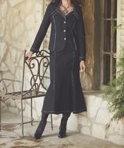Women's Business meeting Work Black Rhinestone Denim Jeans Skirt Suit si... - $138.59