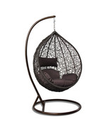 Tear Drop Outdoor Hanging Hammock Wicker Swing Chair Egg Shape New - $449.09