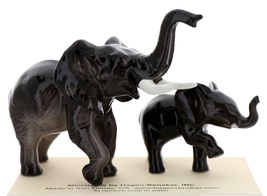 Hagen-Renaker Miniature Ceramic Wildlife Figurine African Elephant Mama and Baby image 2