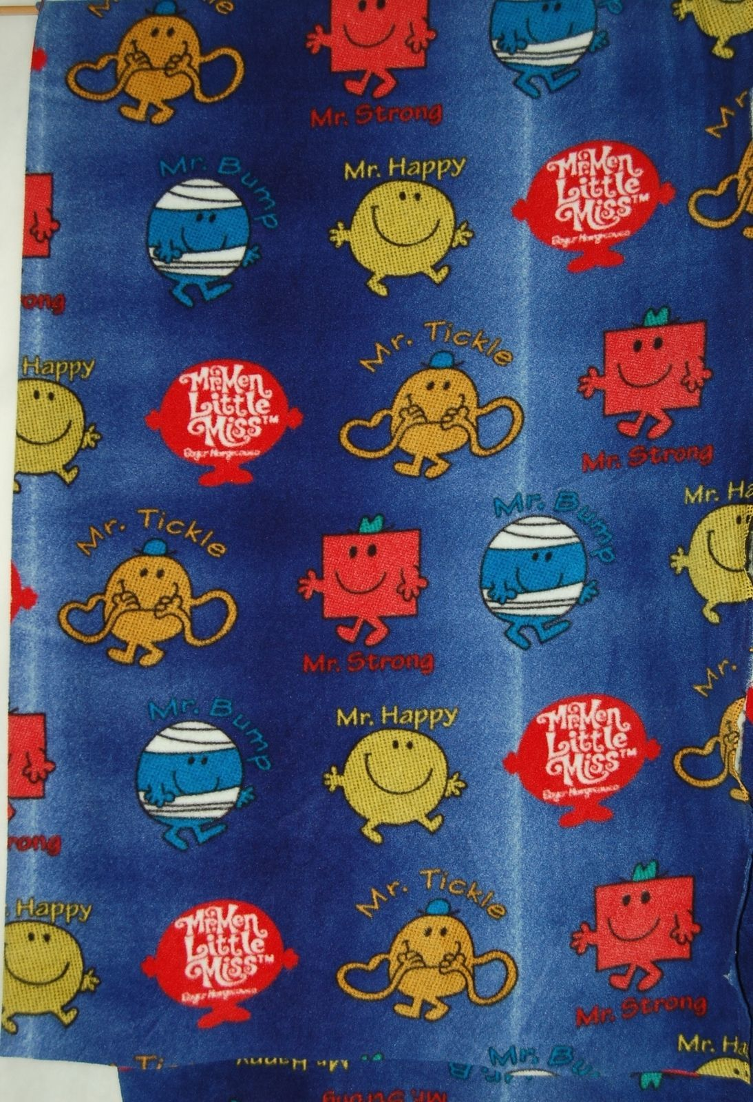 Mr Men Gradient Fleece Fabric Two Yards Hundred Percent Polyester Blue Red