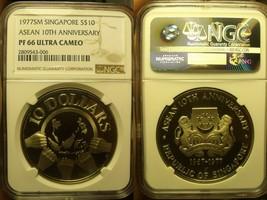 Singapur 1977-SM NGC PF-66 Ultra Cameo ~ Asean 10th Anniversary ~10k Min... - $100.82