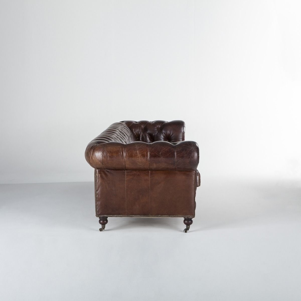 Genuine Vintage Leather Top Grain Chesterfield Extra Long Sofa
