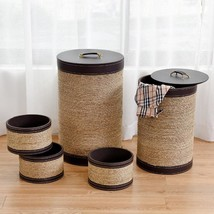 5 pcs Round Storage Basket Seaweed Hamper Laundry Basket - £115.58 GBP