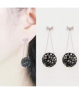 Handmade Round Dangle Earrings Ribbon Made With Swarovski Crystal 925 Si... - $32.71