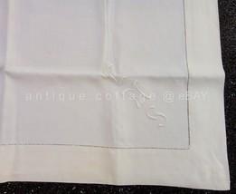 """antique FINE LINEN TABLECLOTH monogram """"ems"""" 34.5""""x36"""" - $67.95"""