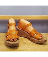 KORKS Kork-ease Women's Size 9 - 40.5 Orange Leather Wedge Sandals With ... - $34.64