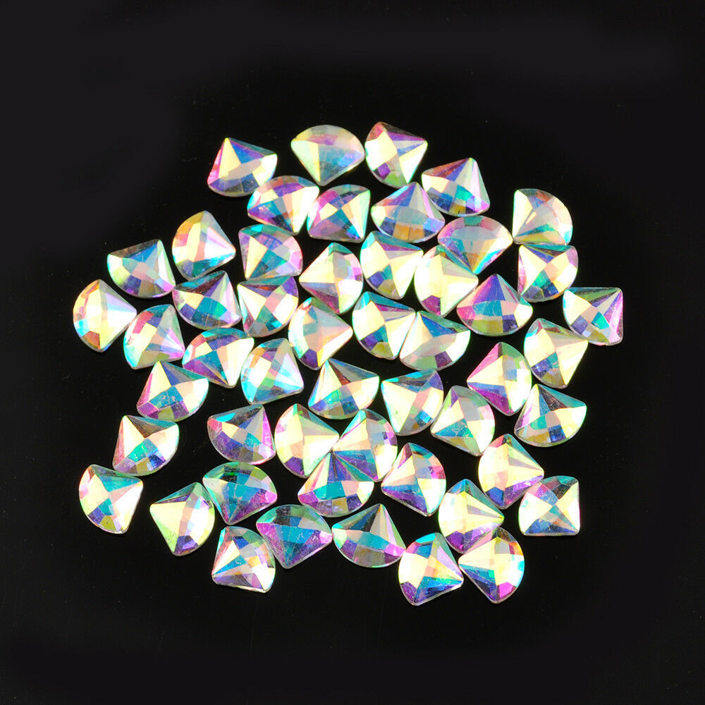 50PCS AB Czech Crystal Rhinestone Flatback Nail Art Decoration Small Shape DIY