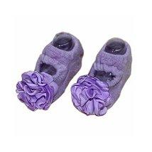 2 Pairs Baby Socks Flower Anti-Slip Socks for Baby Girls, Purple
