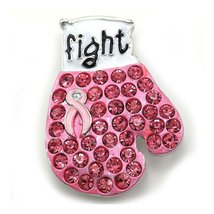 Rhinestone Rhodium Plated Pink Ribbon Breast Cancer Awareness Fight Boxi... - $21.65