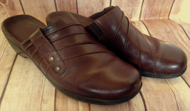 CLARKS Leather Slip On Dark Brown May Flower Top Stitched Clogs Shoes Sz 9 M  - $34.29