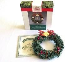 Hallmark Ornament Little Frosty Friends Memory Mini Wreath 1990 NO Stand or Orna - $7.99