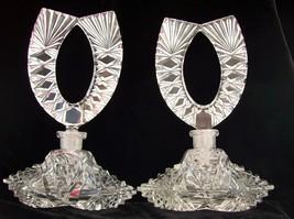 "Amazing Pair of Vintage Czech Perfume Bottles~RARE~Signed~6.75""~Dauber I... - $319.99"