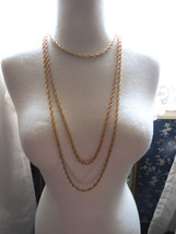 VTG Crown Trifari Necklace Mult Chain Gold Plate Couture Torsade Festoon... - $59.39