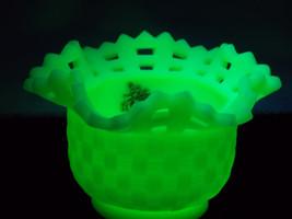 Fenton Glass Open Edge Basket Weave Satin Lime Sherbet Bowl #8222, UV Black Ligh - $46.00