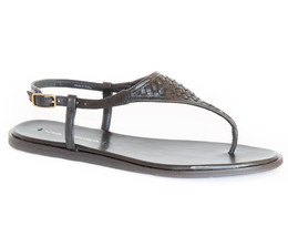 NWT VIA SPIGA Aislin2 Womens Black Leather Sandals Shoe, Size 5.5M - $50.15