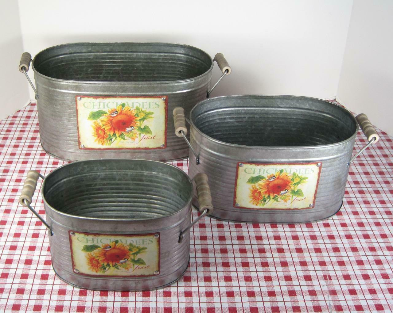 Primary image for Sunflower Design Nesting Galvanized Containers Set of 3 Rustic Antique Country
