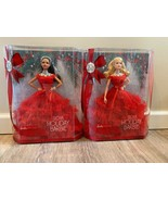 2018 Holiday Barbies Set Of 2 Blonde And Brunette Christmas Sold Out Rar... - $64.50