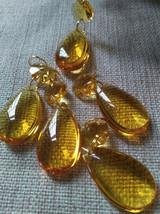 20Pcs Yellow Crystal Prisms Chandelier 38mm Drop Pendant Golden Rings Connectors - $13.32