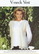Ladies V-neck Vest Size S-M-L Vanna Crochet Pattern Leaflet NEW - $0.90