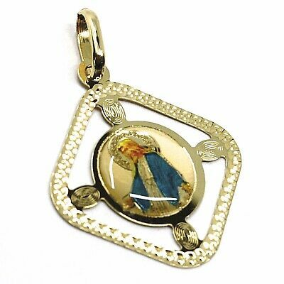 SOLID 18K YELLOW RHOMBUS GOLD MEDAL VIRGIN MARY 22mm MIRACULOUS, FRAME & ENAMEL