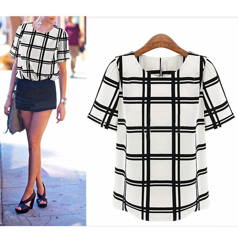 2014 Hot Sale Women Black&White Short Sleeve Chiffon Check Loose Top Grid T Shir