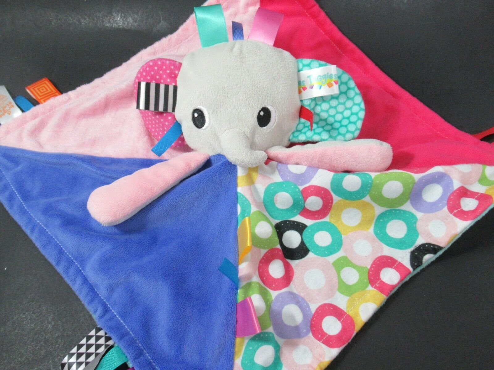 Bright Starts Taggies baby plush gray elephant security blanket blue pink green - $19.79