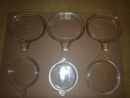 Vintage Pyrex Lot Mixed Clear Glass Tab Handle Covers Lids Grab Its - $23.36