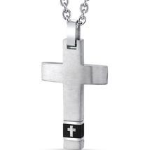 Stainless Steel Black Band Cross Motif Pendant - $59.99