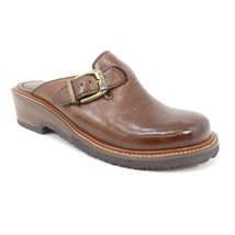 Earth Shoes Mules Clogs 8.5 M Brown Leather Slip On Buckle 3991117 - $18.49