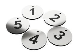Circular Key Fobs, key Tags, key Rings, Numbered 1 to 5 - Silver Acrylic... - $14.68