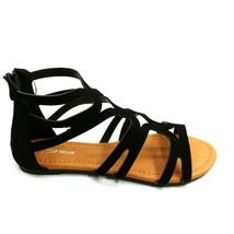 Top Moda Womans Hilda 33 Gladiator Sandal Black Heel Zipper Open Toe Sz ... - $17.80