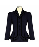 3X 22 DK BLUE PINUP PUFF SLEEVES COUTURE LINED JACKET PEPLUM BLAZER BLAC... - $28.80