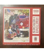 Masterpieces 1000 pc Puzzle - Hometown Heroes Firehouse Dreams Firetruck... - $10.74