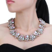 Fashion Jewelry Luxury Multi Colored Floral Leaf Pendant Choker Necklace