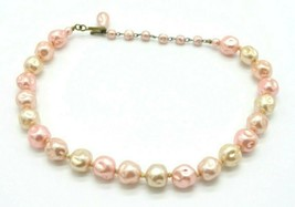 Pink Faux Baroque Pearl Glass Bead Beaded Choker Necklace Vintage - $22.27