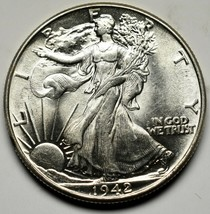 1942 Walking Liberty Half Dollar 90% Silver Coin Lot# A 230