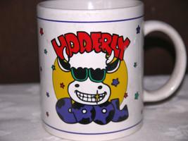 "Udderly Cool ceramic 4"" Coffee mug w/ Cow wearing sunglasses 1995 J.I.I.... - $7.43"