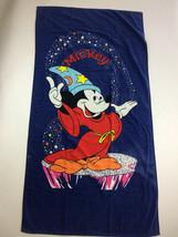 Vtg Disney Mickey Mouse Sorcerer Beach Towel 59x30.5 in - $23.32