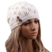 New 2017 Winter Hat Fashion women Knitting Hat casual Hollow Out Leaves ... - $9.35